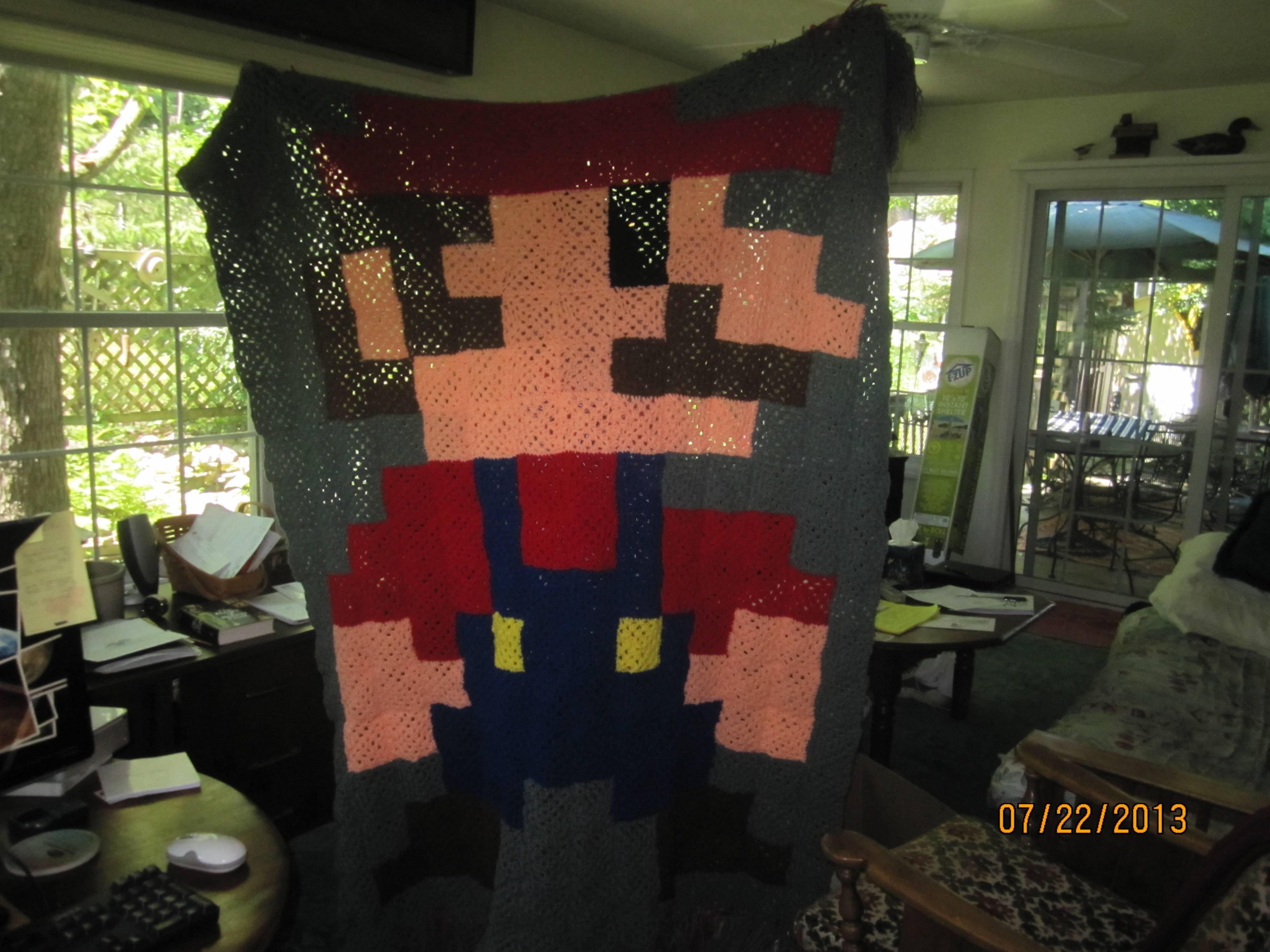 How To Crochet An 8 Bit Mario Blanket